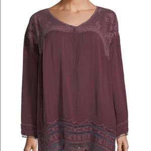 Johnny Was Rose Embroidered Georgette Tunic XL NWT